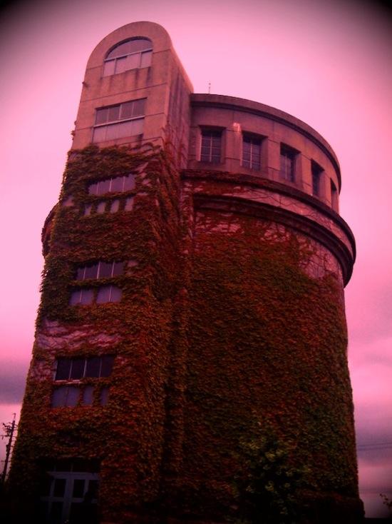 iPhoneのアプリ「Vint Red」で撮影した配水塔