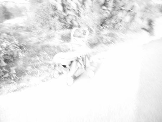 露出+2:モノクロ:乳母車