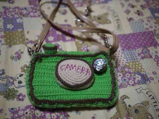 手編みで出来たカメラケース!