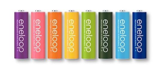 カラフルな8色パックの限定版「eneloop tones」
