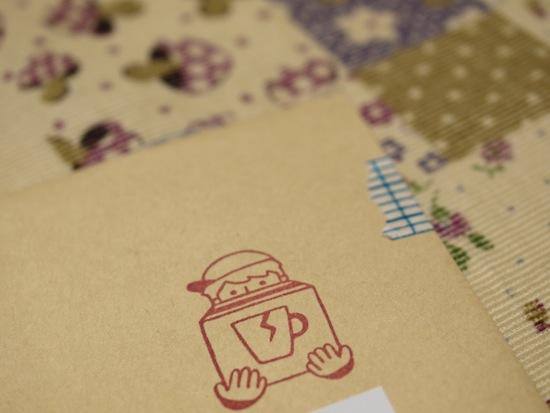 封筒にもはんこが。そしてマスキングテープも可愛い♪