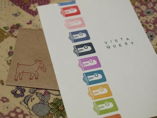 カラフルなVQシリーズのポストカード!お手紙が入ってた小さな封筒にはヤギさんが(*´ω`*)