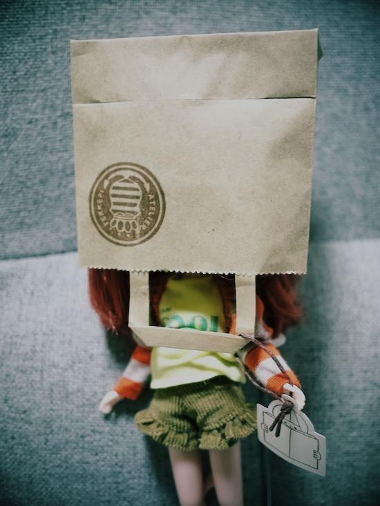 ヲキさんがくれた紙袋をわが家のBlytheにかぶせてみた(笑)