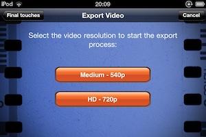 出来上がった動画を変換するサイズを選びます。レンダリングに時間がかかりそうなので、今回は540pで。