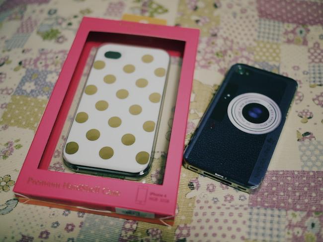 ケイトスペード iPhone4S ケース(ゴールドドット)