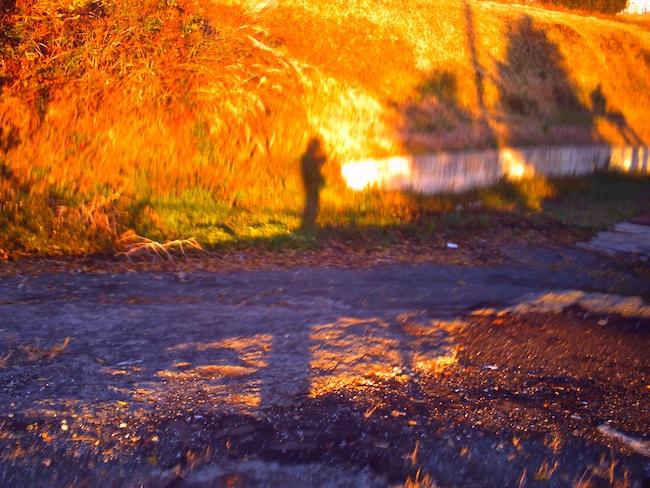 自分の影を撮った写真です。手ぶれとビビッドな色味でインパクトある写真に。